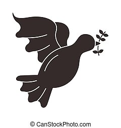 peace dove with olive branch flying silhouette style icon