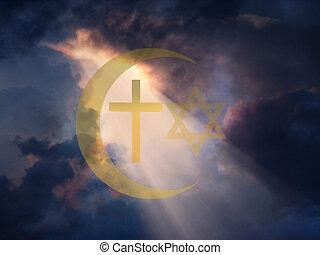 Peace - Star of David, Muslim Cresent and Cross