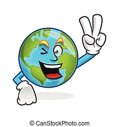 Peace earth mascot, victory earth character, earth cartoon vector
