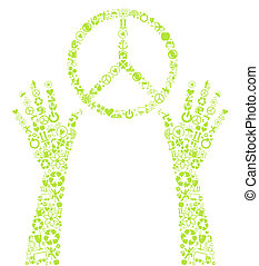 Peace eco vector background sign
