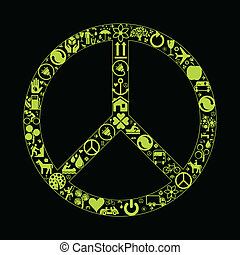 Peace eco vector background