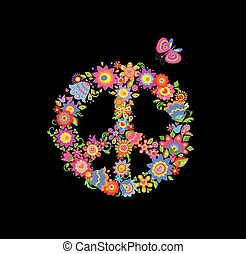 Peace flower symbol isolated on black background