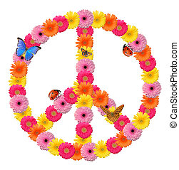 Peace flower symbol isolated on white