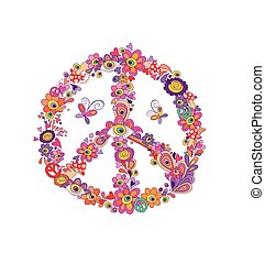 Peace flower symbol with abstract flowers, mushrooms and eye