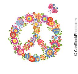 Peace flower symbol with flowers