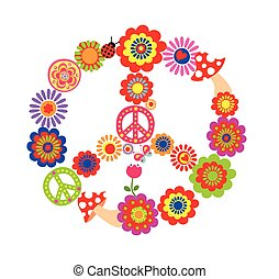 Peace flower symbol with mushrooms