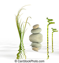 Zen garden abstract of grey spa stones in perfect balance with bamboo leaf grass and reflection in rippled water, over white background.