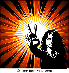 Peace - Grunge style silhouette of a female giving the peace...