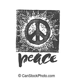 Peace hand drawn linotype made symbol.