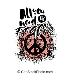 Peace hand drawn linotype made symbol. Concept hand lettering motivation poster. Artistic modern brush calligraphy design for a logo, greeting cards, invitations, posters, banners, t-shorts, seasonal greetings illustrations.