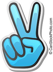 Peace hand gesture sticker, two fingers up