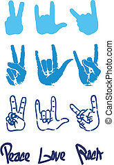 Peace hand sign logo love rock