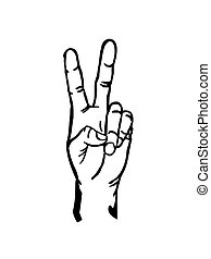 Peace hand sign vector illustration