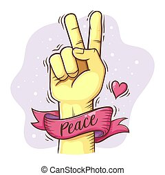 Peace Hand Sign With Ribbon