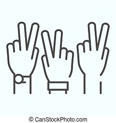 Peace Hands thin line icon. Fingers of arms with peace ...