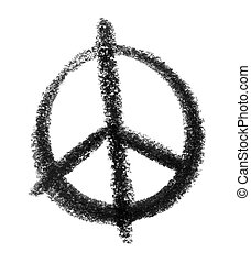 peace icon - crayon-sketched illustration of a peace sign
