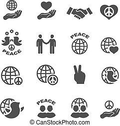 Peace icons set vector symbols