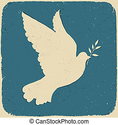 peace., illustratie, eps10., vector, retro, gestyleerd, duif