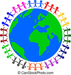 peace - illustration of a globe with people around