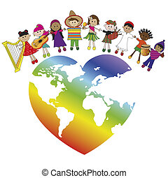 peace - illustration with world and some children