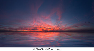 peace in red sky - sunset on sea