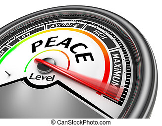 Peace level conceptual meter indicate maximum