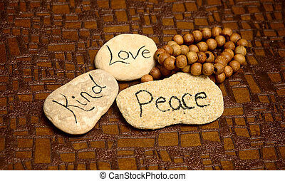 peace, love and kind rocks - peaceful scene with rocks with...