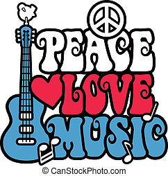 Peace Love and Music - Retro-style design of the words,...