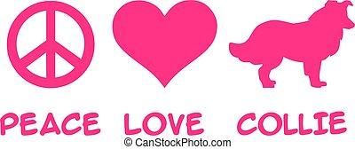 Peace, Love, Collie slogan pink