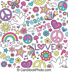 Peace, Love & Dove Doodles Pattern - Seamless Pattern Doves...