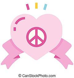 Peace love flat illustration