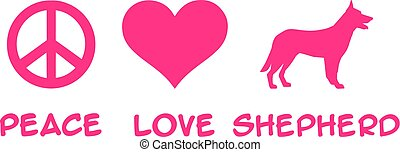 Peace, Love, German Shepherd slogan pink