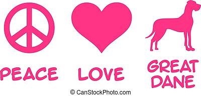 Peace, Love, Great Dane slogan