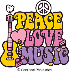 Retro -style illustration of a guitar, peace symbol and dove with the words Peace, Love and Music. Typestyle is my own design.