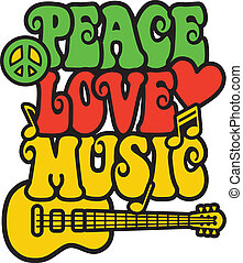 Peace Love Music in Rasta Colors - Iconic design of Peace,...