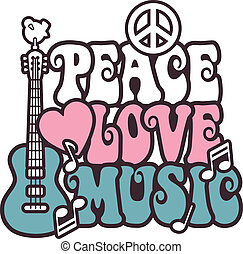 Retro -style illustration of a guitar, peace symbol and dove with the words Peace, Love and Music. Typestyle is my own design..