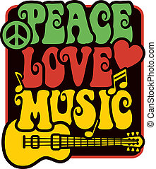 Retro-style design of Peace, Love and Music with peace symbol, heart, musical notes and guitar in Rasta colors.