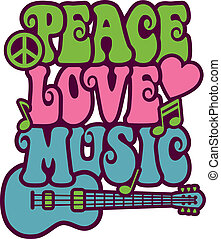 Peace Love Music - Retro-style design of Peace, Love and...