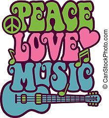 Peace Love Music - Retro-style design of Peace, Love and...