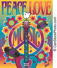 Retro-styled illustration of a heart-shaped guitar, peace symbol and dove with flowers.