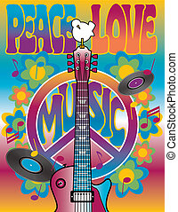 Peace-Love-Music - Vector illustration of a guitar, peace ...
