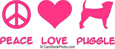 Peace, Love, Puggle slogan pink