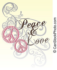 peace love with scroll pattern