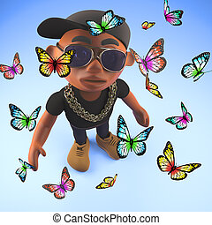 Peace loving black hiphop rapper surrounded by butterflies,...