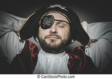 Peace, man pirate with eye patch and old hat with funny faces and expressive
