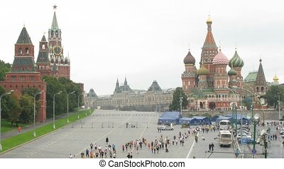 Peace marathon participants in front of Saint Basil's Cathedral