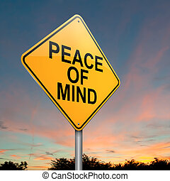 Peace of mind. - Illustration depicting a roadsign with a ...
