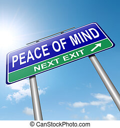 Illustration depicting a roadsign with a peace of mind concept. Sky background.