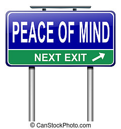 Illustration depicting a roadsign with a peace of mind concept. White background.
