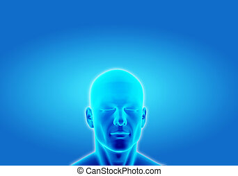 Illustration of a man thinking in deep conscious on blue background